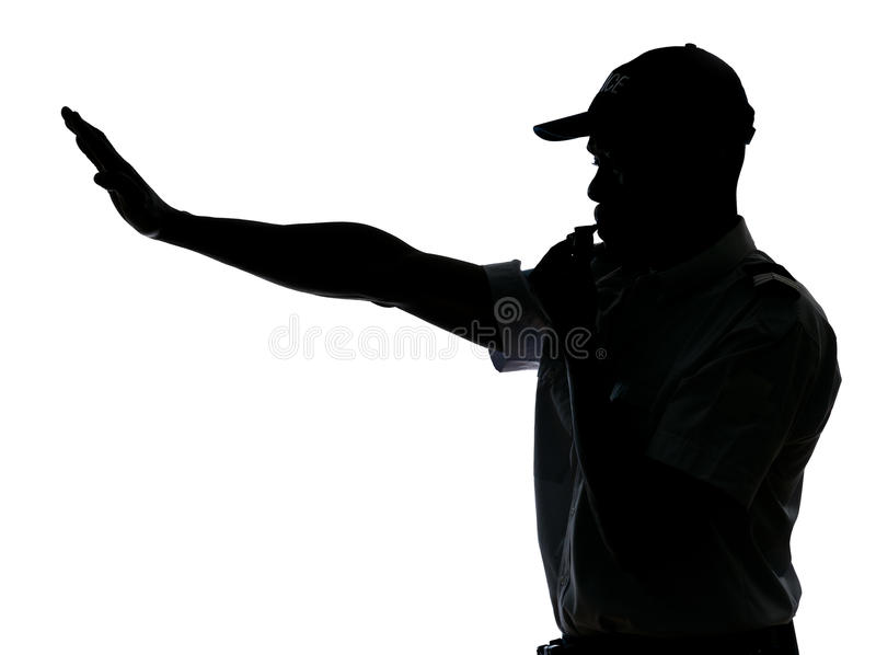 Traffic Cop Making Stop Gesture Royalty Free Stock Photography