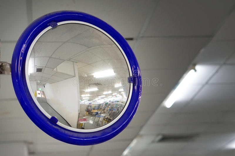 The traffic curve mirror. Traffic mirror stock images