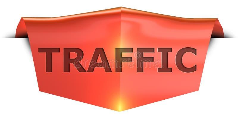 Banner traffic. Traffic 3D rendered red banner , isolated on white background vector illustration