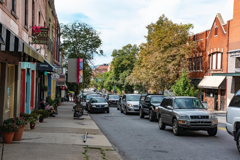Traffic in downtown Asheville stock photography