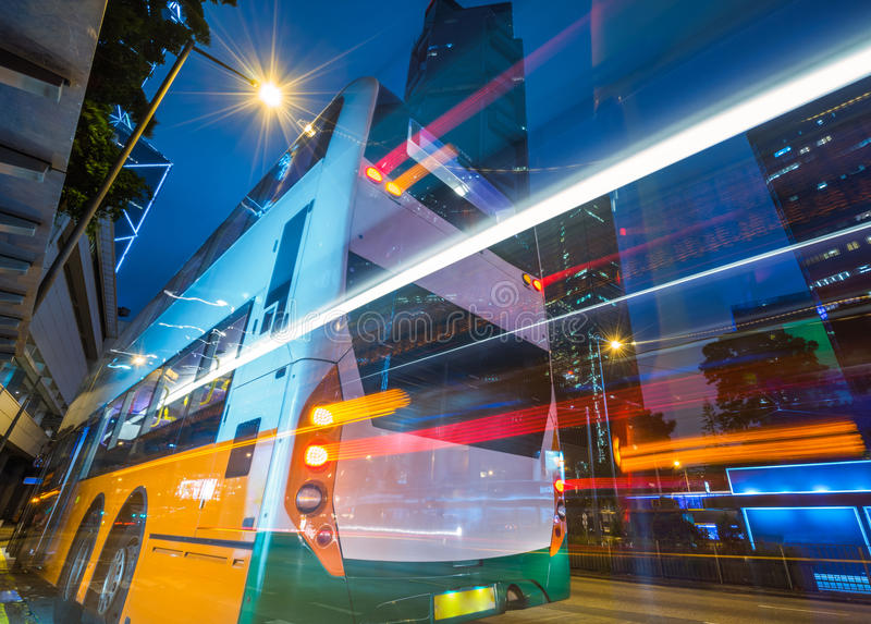 Traffic in downtown of Hong Kong. Traffic light trails in downtown of Hong Kong,China royalty free stock photo