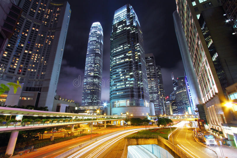 Download Traffic Through Downtown Of Hong Kong At Night Stock Photo - Image: 20350862