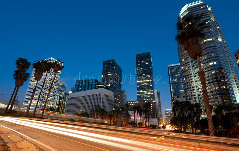 Traffic driving through Los Angeles. Car traffic through downtown Los Angeles stock image