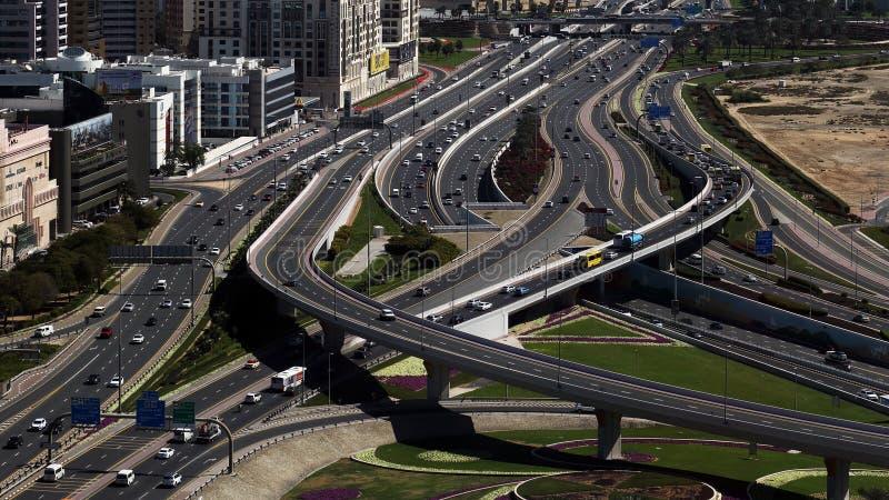 Traffic in Dubai, United Arab emirates, UAE. Birds eye view at highway traffic in Dubai, United Arab Emirates, UAE stock photo