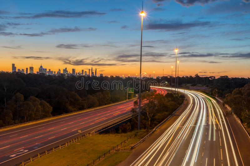 Traffic on the Eastern Freeway in Melbourne, Australia stock photo