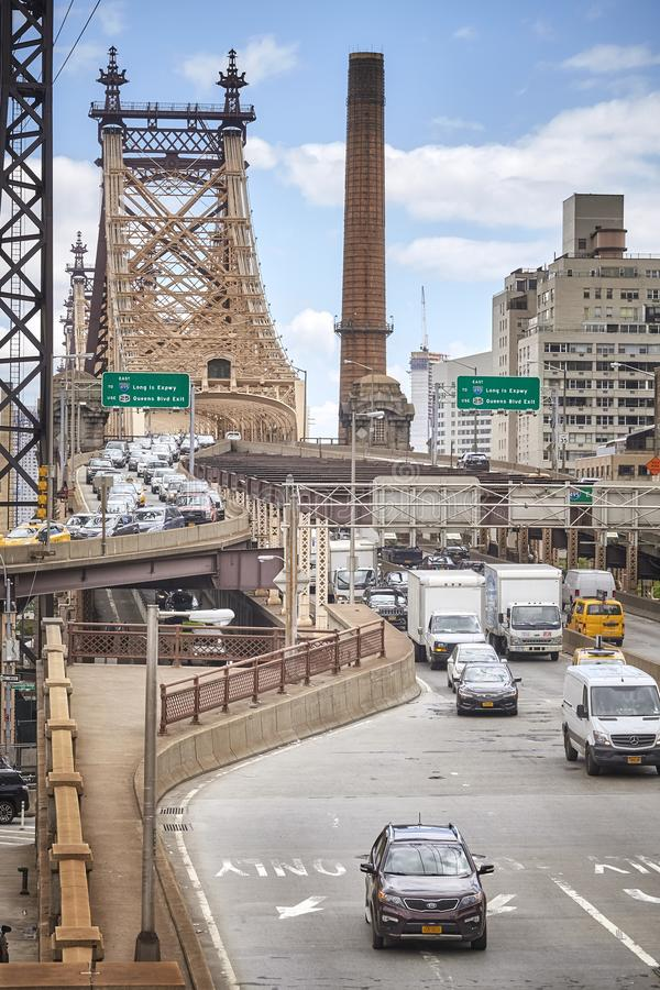 Traffic at the exit of the Ed Koch Queensboro Bridge. royalty free stock image