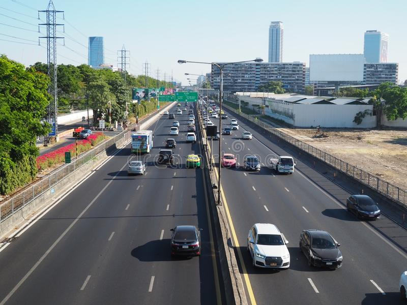 Traffic on expressway in the heart of Bangkok city stock images