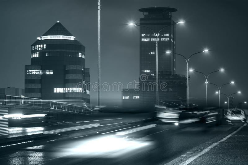 Traffic in Financial District, Brescia, Italy royalty free stock image
