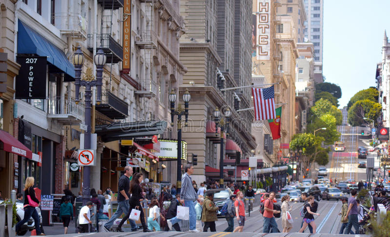Traffic in Financial District of San Francisco CA stock image