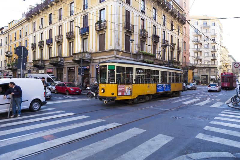 Traffic in a four ways junction with tram line royalty free stock image