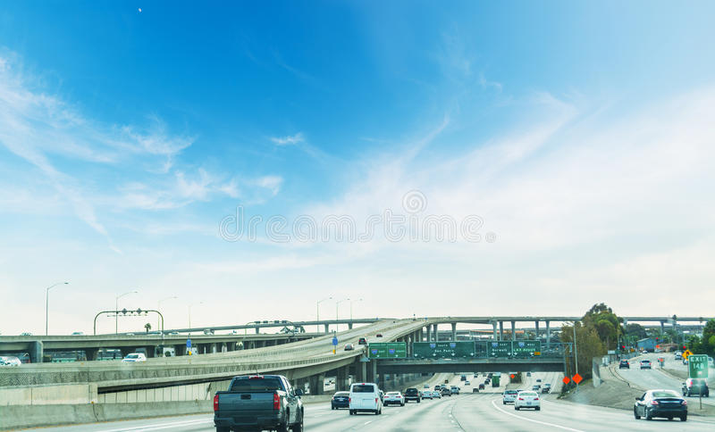 Traffic in 110 freeway in Los Angeles. California royalty free stock images