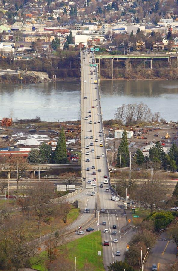 Traffic & freeways Portland Oregon. A view from Oregon health & science university, Burnside bridge road stock images