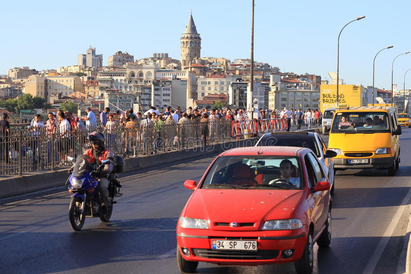 Download Traffic on Galata Bridge editorial image. Image of crowd - 26012240