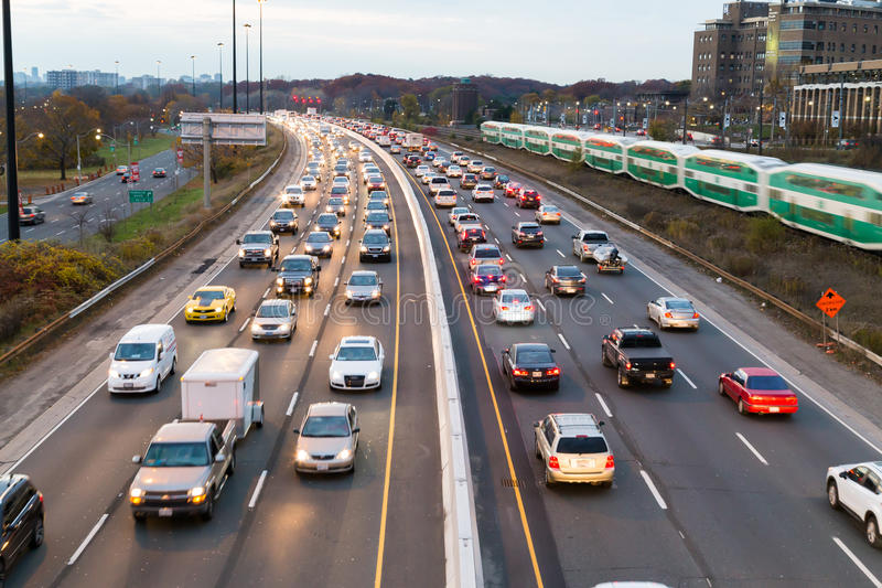 Traffic on the Gardiner Express stock image