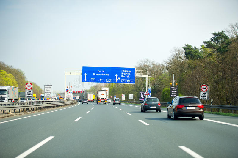 Traffic on a German Autobahn highway. GERMANY - APRIL 3: Traffic on a German Autobahn highway on April 3, 2014 in , Germany. German autobahns have no general stock photos