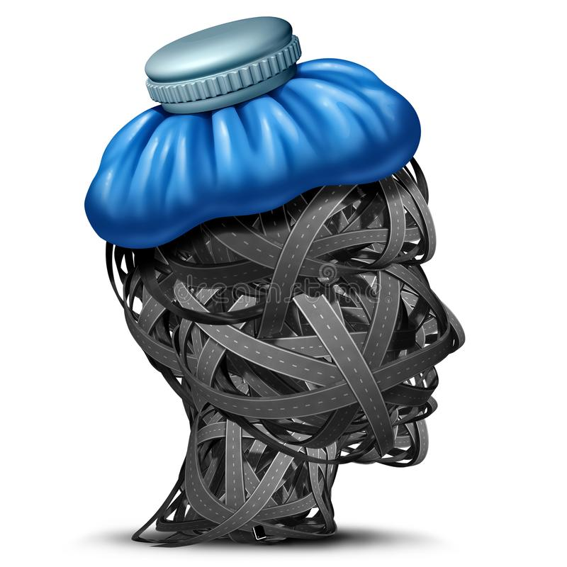 Traffic Headache. And highway congestion headaches as automobile or car gridlock road stress concept as a head made of streets with an ice bag as a 3D render vector illustration