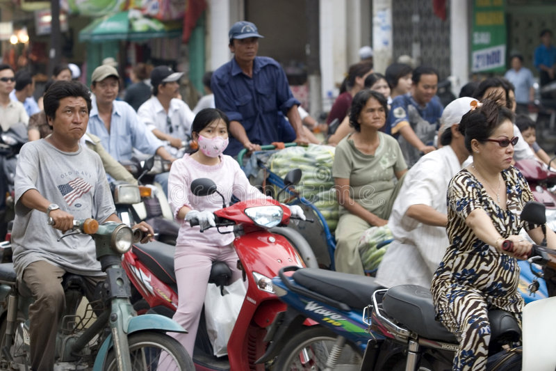 Traffic hell Saigon, Vietnam royalty free stock photography