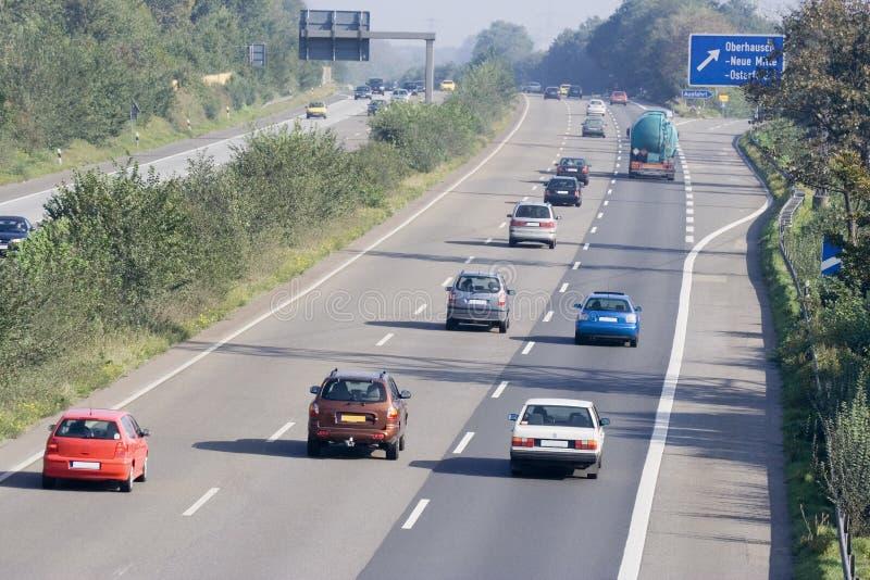 Traffic on the highway. Autobahn in oberhausen, germany - adobe RGB stock photo