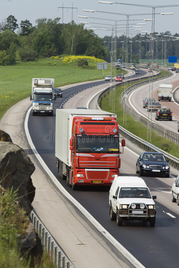 Traffic in highway-curve stock photo