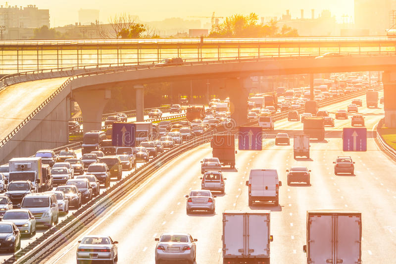 Traffic on the highway. Heavy traffic on the highway with sunlight stock images