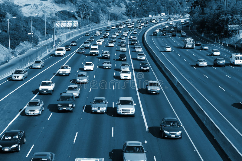 Traffic on the Hollywood 101. Freeway. Los Angeles, California, USA stock photography
