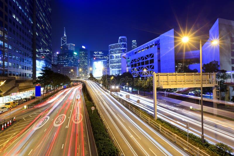 Traffic In Hong Kong At Night Royalty Free Stock Photo