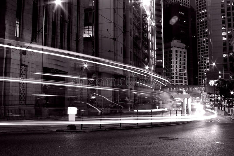 Traffic in Hong Kong at night in black and white royalty free stock photography