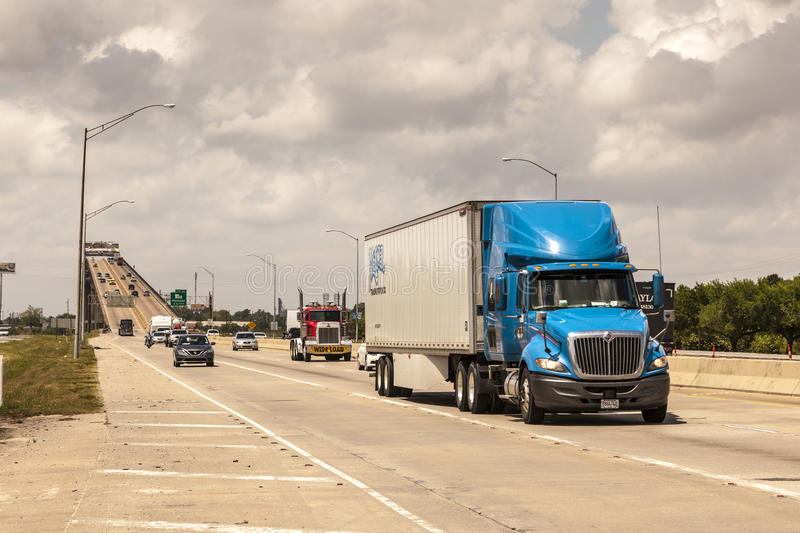 Traffic on the Interstate in Westlake, USA stock images