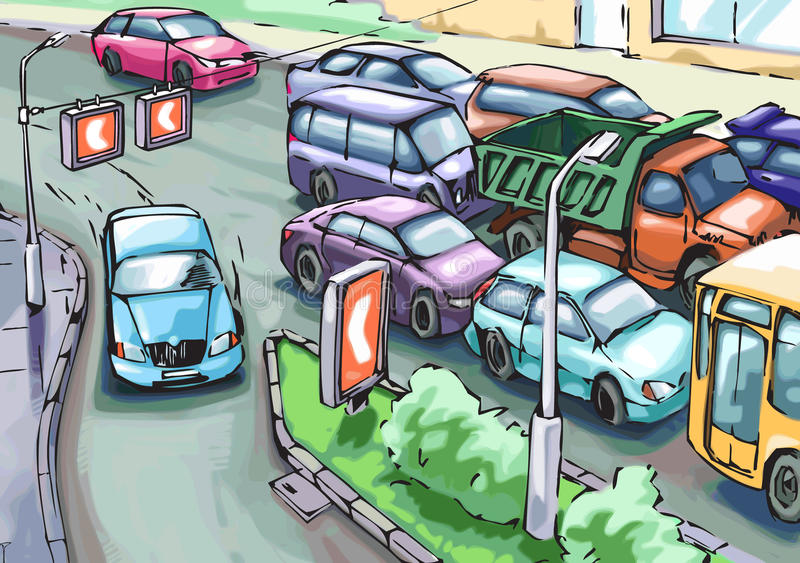 Traffic jam. The blue car is making a detour round the cars stuck in a traffic jam stock illustration
