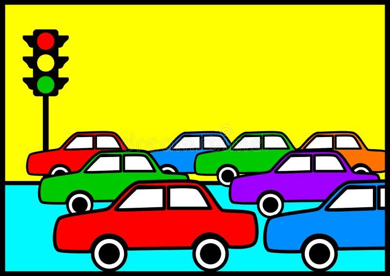 Traffic Jam. Pop art illustration of traffic jam vector illustration
