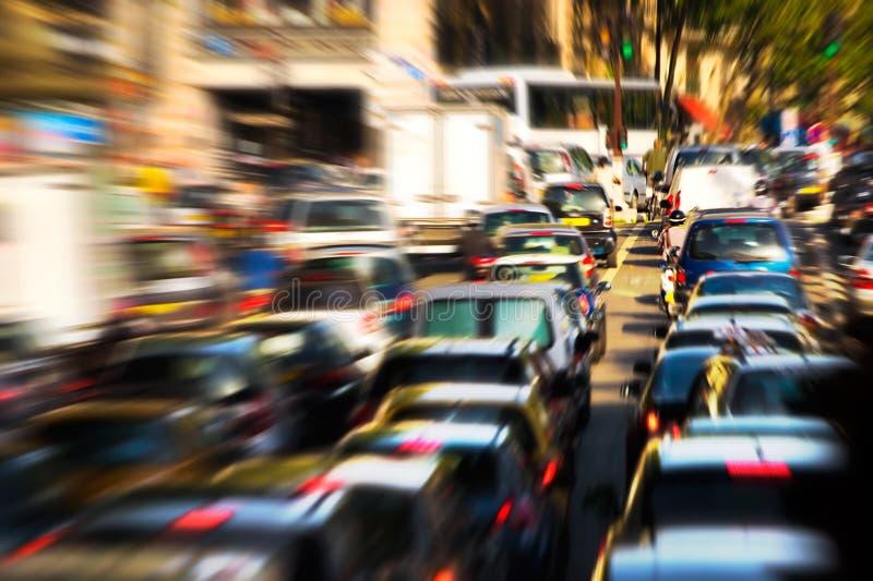 Traffic jam. Zoom blur effect