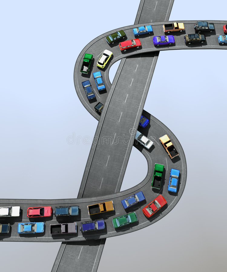 Traffic jam. 3D illustration of a traffic jam vector illustration