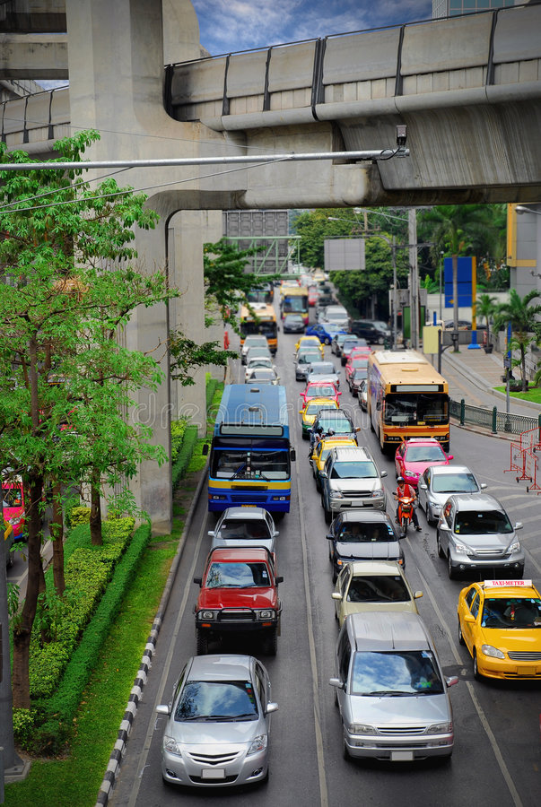 Traffic jam. Image of traffic jam at center of Bangkok city stock photo