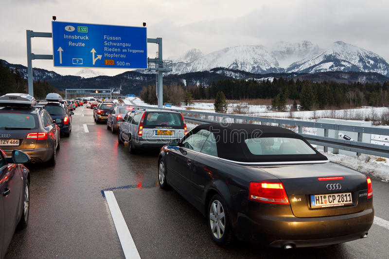 Traffic Jam on the A7 Autobahn in Germany stock photography