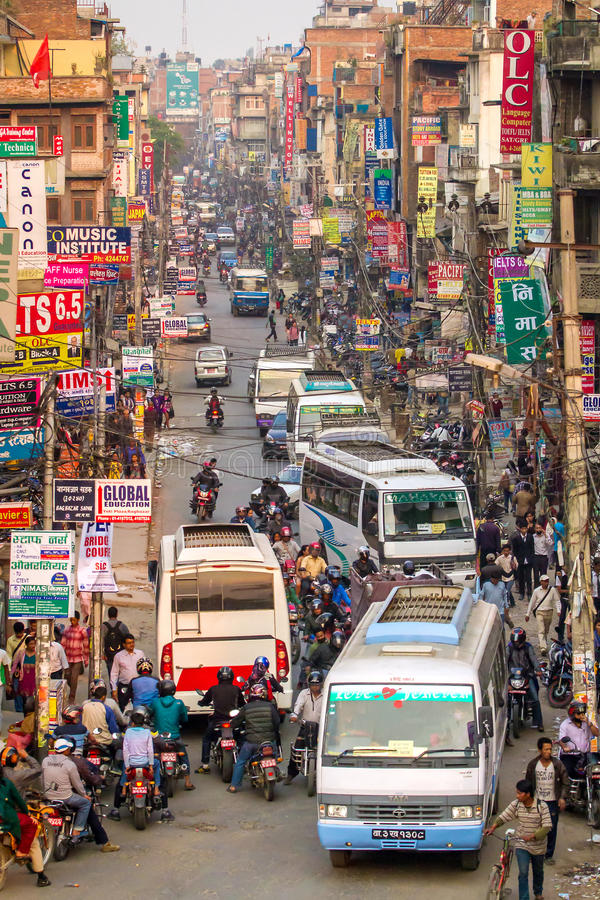Traffic jam and air pollution in central Kathmandu stock photo