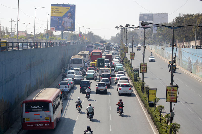 Traffic Jam on a busy road in bangalore, india. Everyday traffic block on one of the busy roads in bangalore, india royalty free stock photo