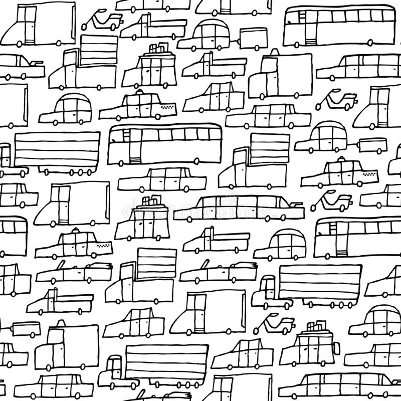 Traffic jam car black and white texture. Cartoon illustration of traffic jam cars seamless texture for coloring vector illustration