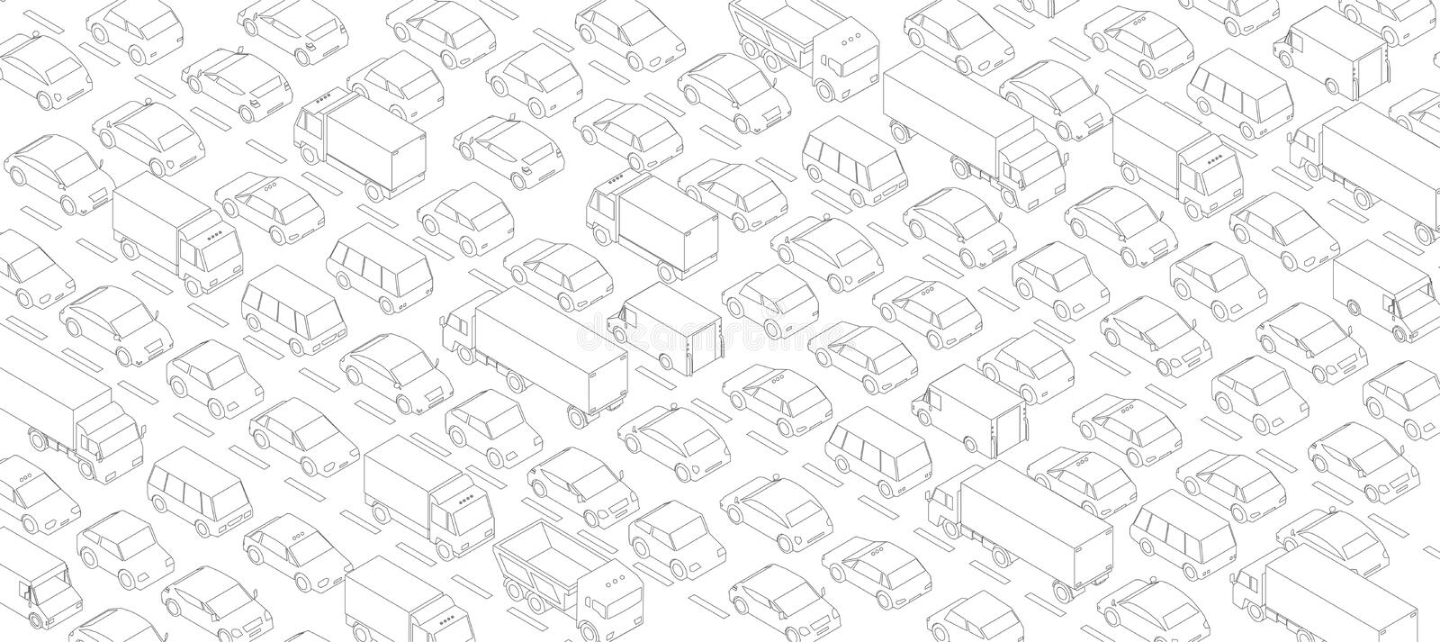 Traffic jam, car plug transport highway road. A lot of cars. Gray lines outline contour style. Background monochrome vector stock photo