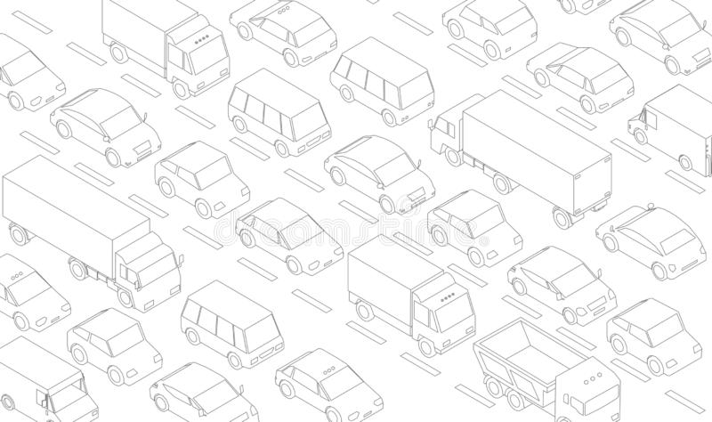 Traffic jam, car plug transport highway road. A lot of cars. Gray lines outline contour style. Background monochrome vector. Stock clipart illustration vector illustration