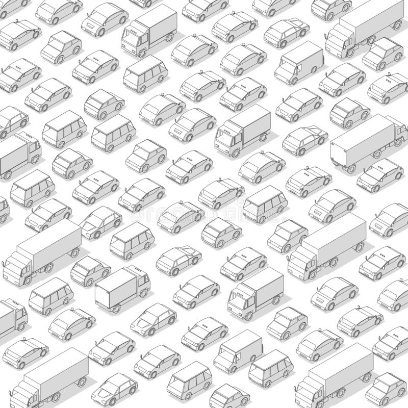 Traffic jam, car plug transport highway road. A lot of cars. Gray lines outline contour style. Background monochrome vector with stock image