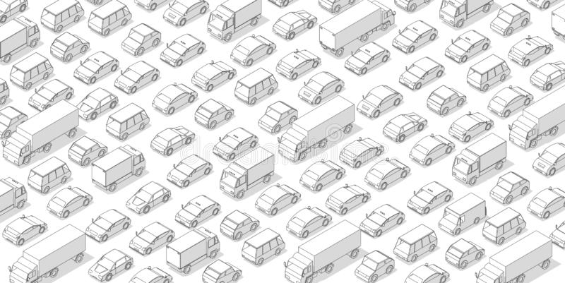 Traffic jam, car plug transport highway road. A lot of cars. Gray lines outline contour style with shadow. Background monochrome royalty free stock image