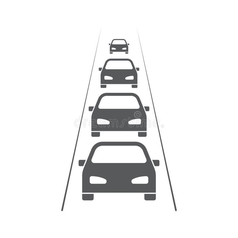 Traffic Jam car vector icon symbol crowded isolated on white background. Eps10 royalty free illustration