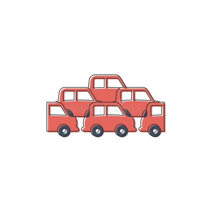 Traffic Jam car vector icon symbol crowded isolated on white background. Eps10 stock illustration