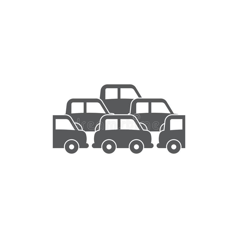 Traffic Jam car vector icon symbol crowded isolated on white background. Eps10 vector illustration