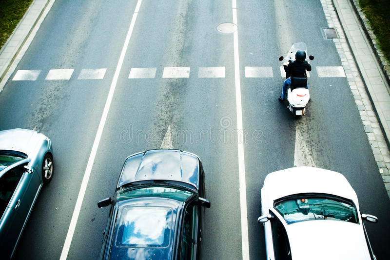 Traffic jam with cars on road stock photos