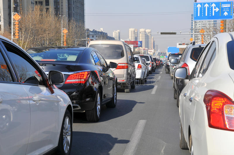 Traffic jam. In chinese city royalty free stock photos