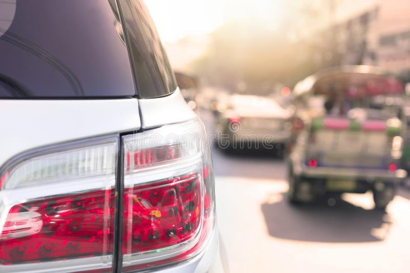Traffic jam at the city stock photography