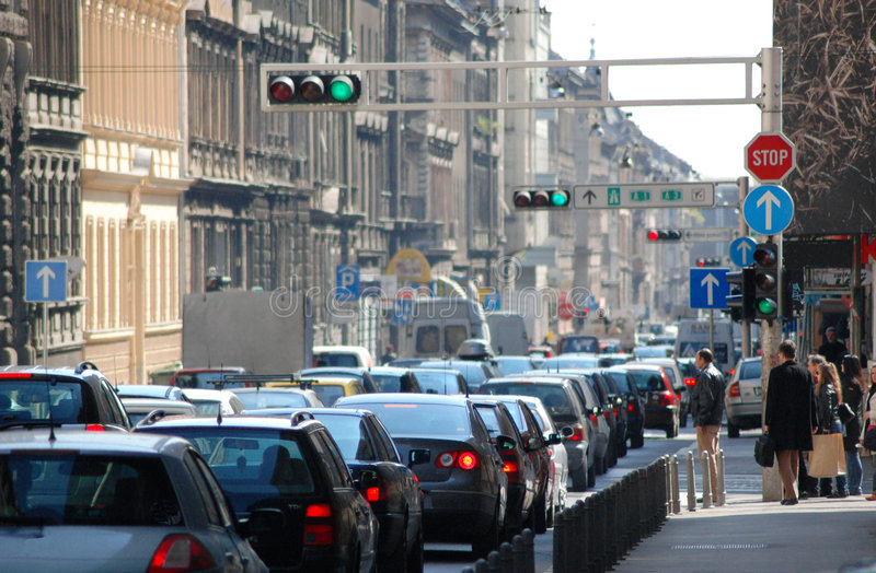 Traffic jam in the city royalty free stock image