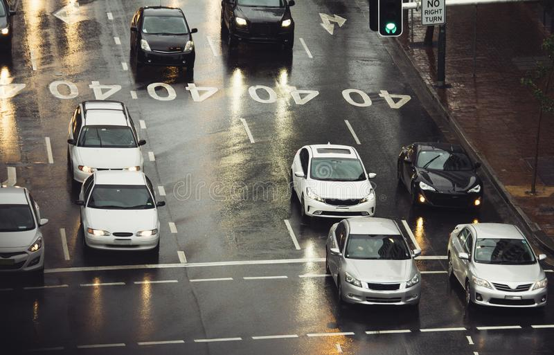 Traffic jam in the city cars on rainy day. Street royalty free stock photography