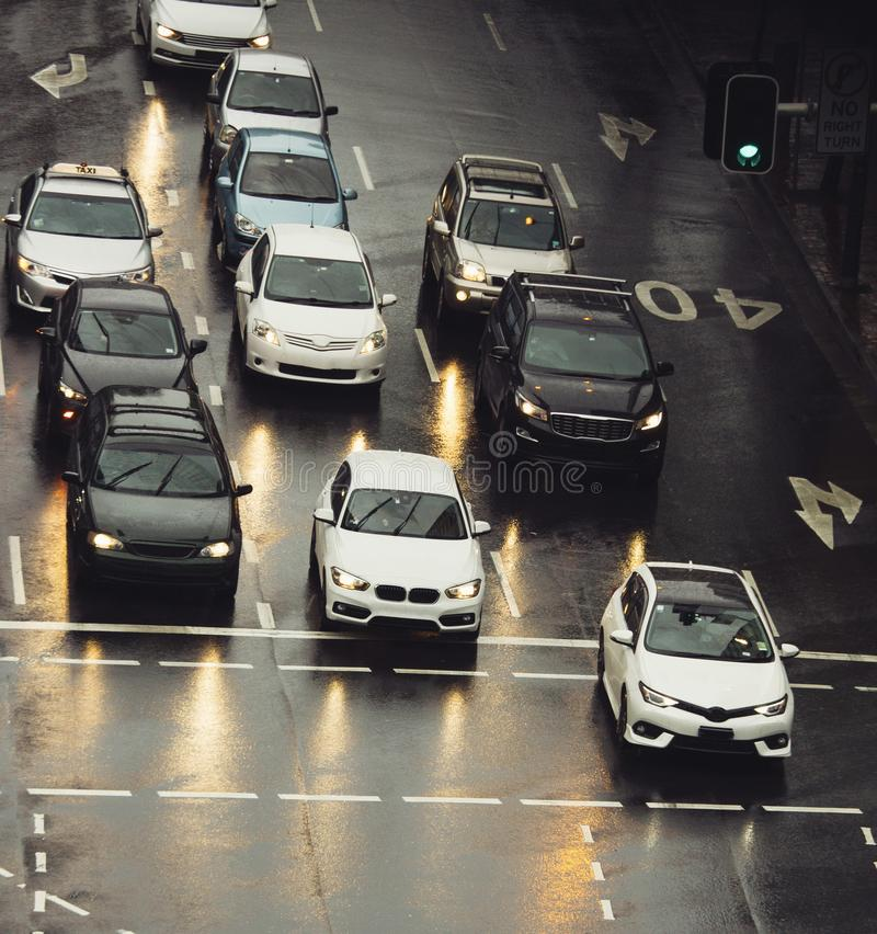 Traffic jam in the city cars on rainy day. Street stock photo